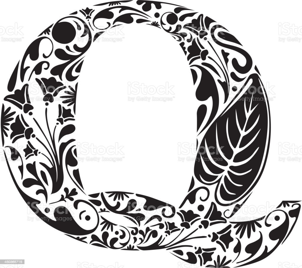 Floral Q royalty-free stock vector art