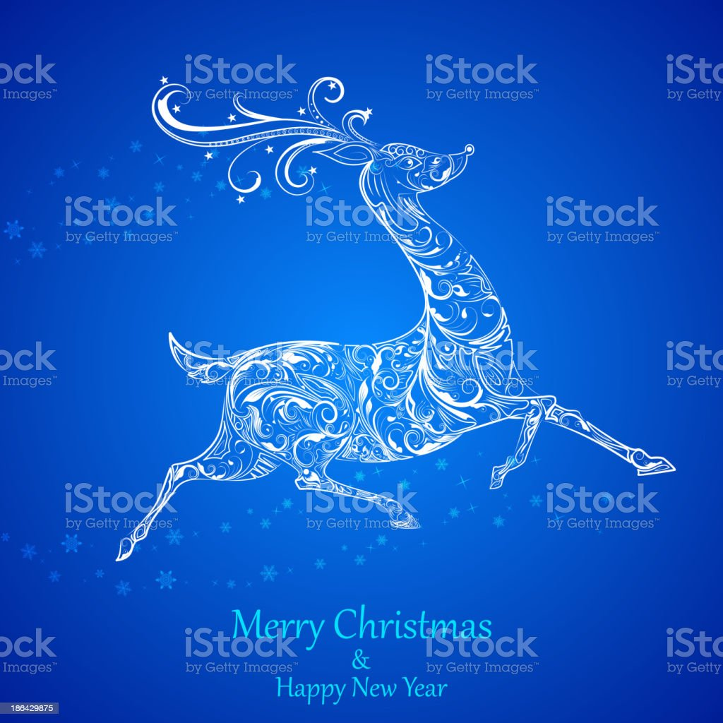 Floral Reindeer royalty-free stock vector art