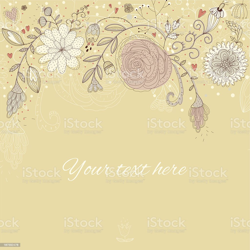 Floral retro background with hand drawn flowers royalty-free stock vector art