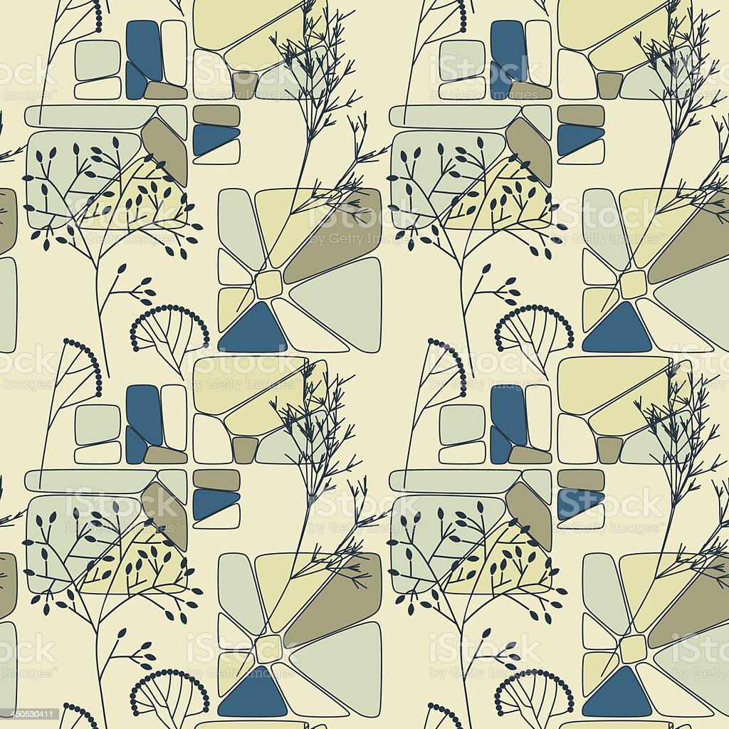 Sem costura padrão floral retrô vetor e ilustração royalty-free royalty-free