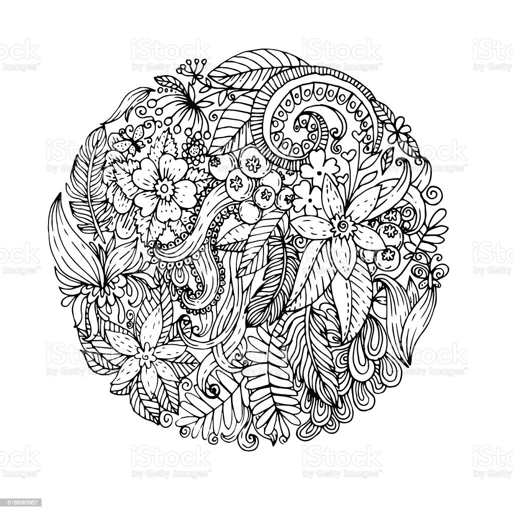Floral  round vector art illustration