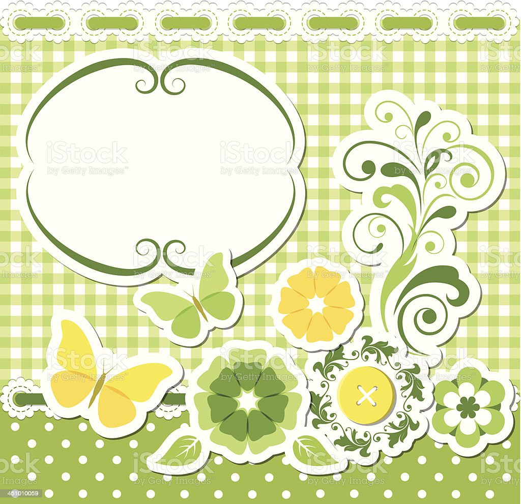 Floral scrapbook green set royalty-free stock vector art