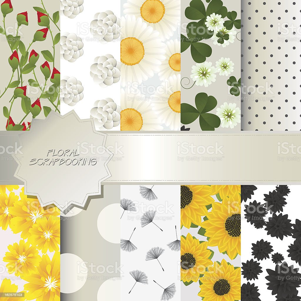 Floral scrapbooking royalty-free stock vector art