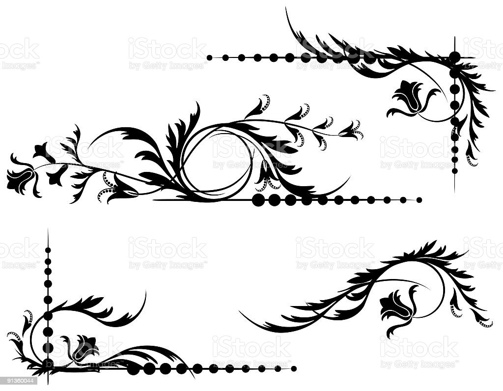 Floral Scroll Elements royalty-free stock vector art