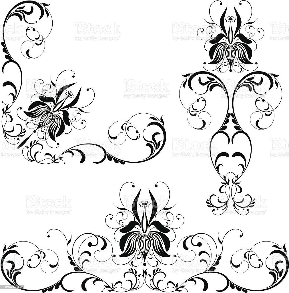 Floral scroll IV royalty-free stock vector art