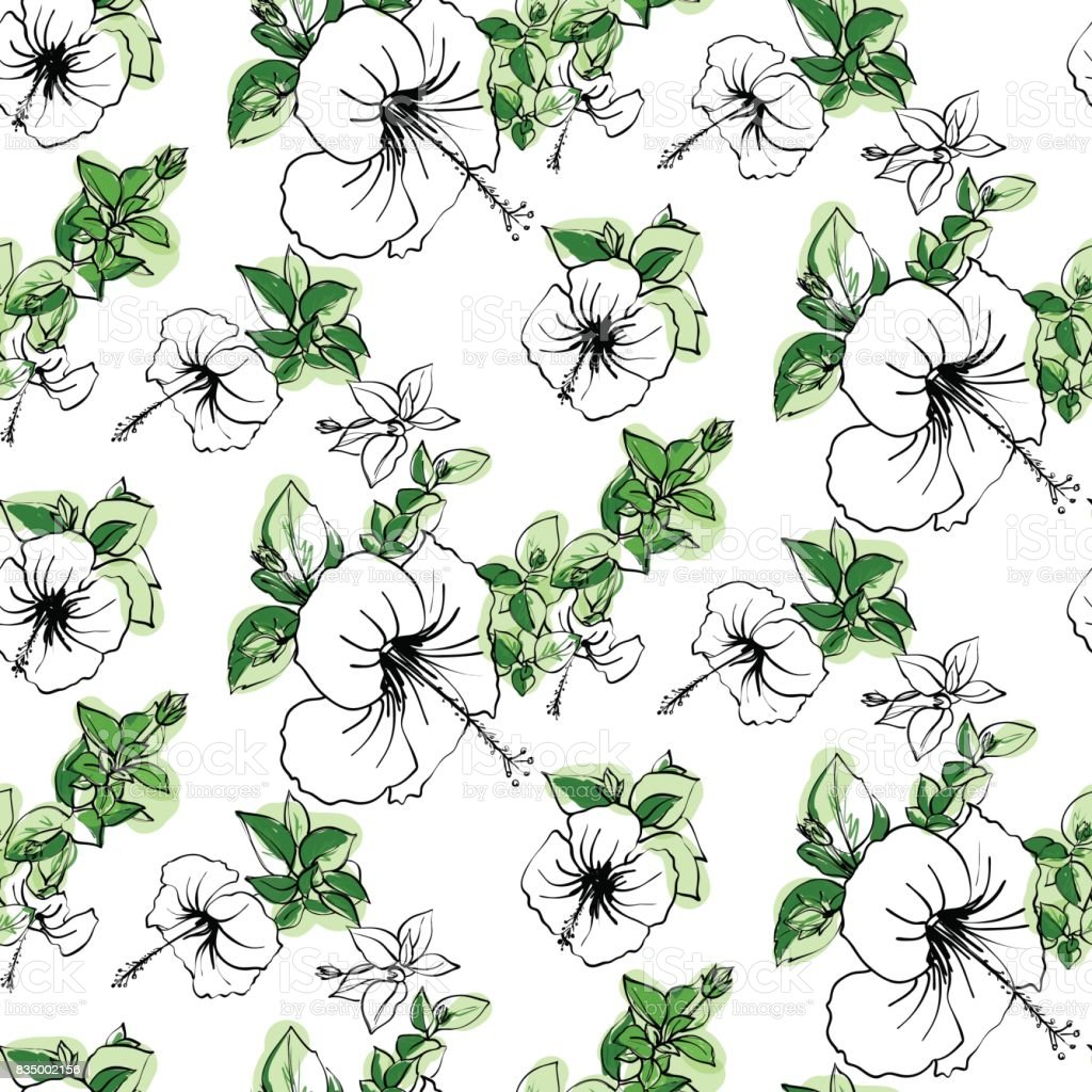 Floral seamless background pattern spring summer season hibiscus floral seamless background pattern spring summer season hibiscus flowers hand drawnctor illustration dhlflorist Image collections