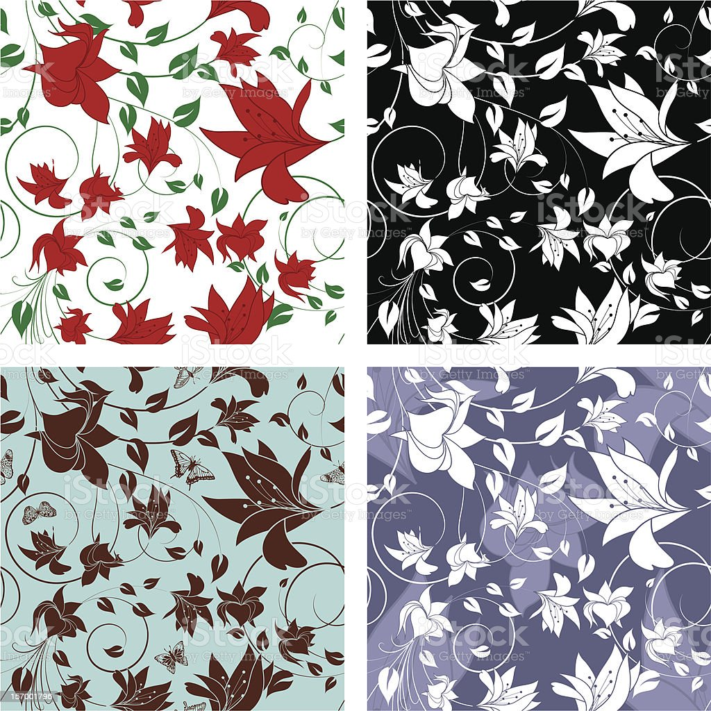 Floral Seamless Color Set royalty-free stock vector art