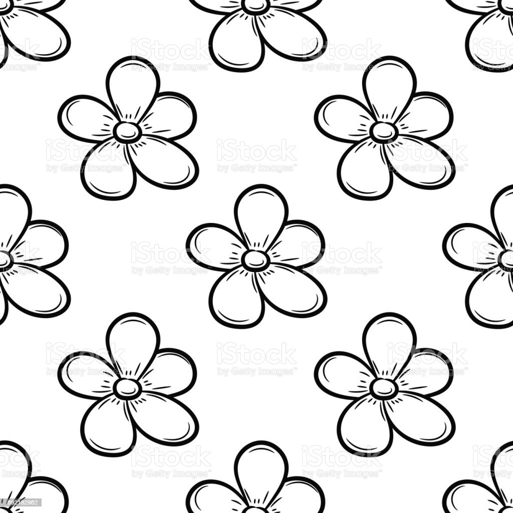 Floral seamless pattern. Black and white flowers vector art illustration