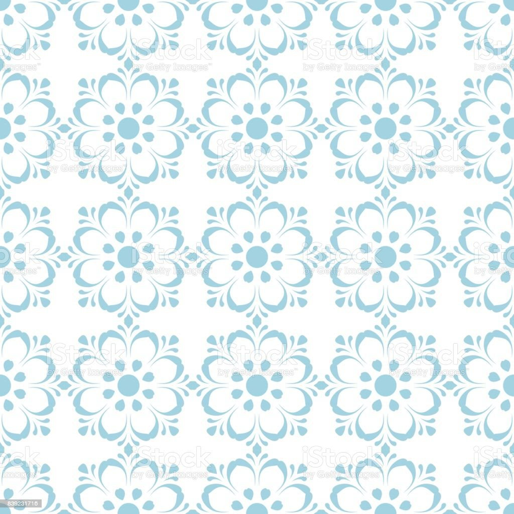 Floral seamless pattern. Blue abstract background vector art illustration
