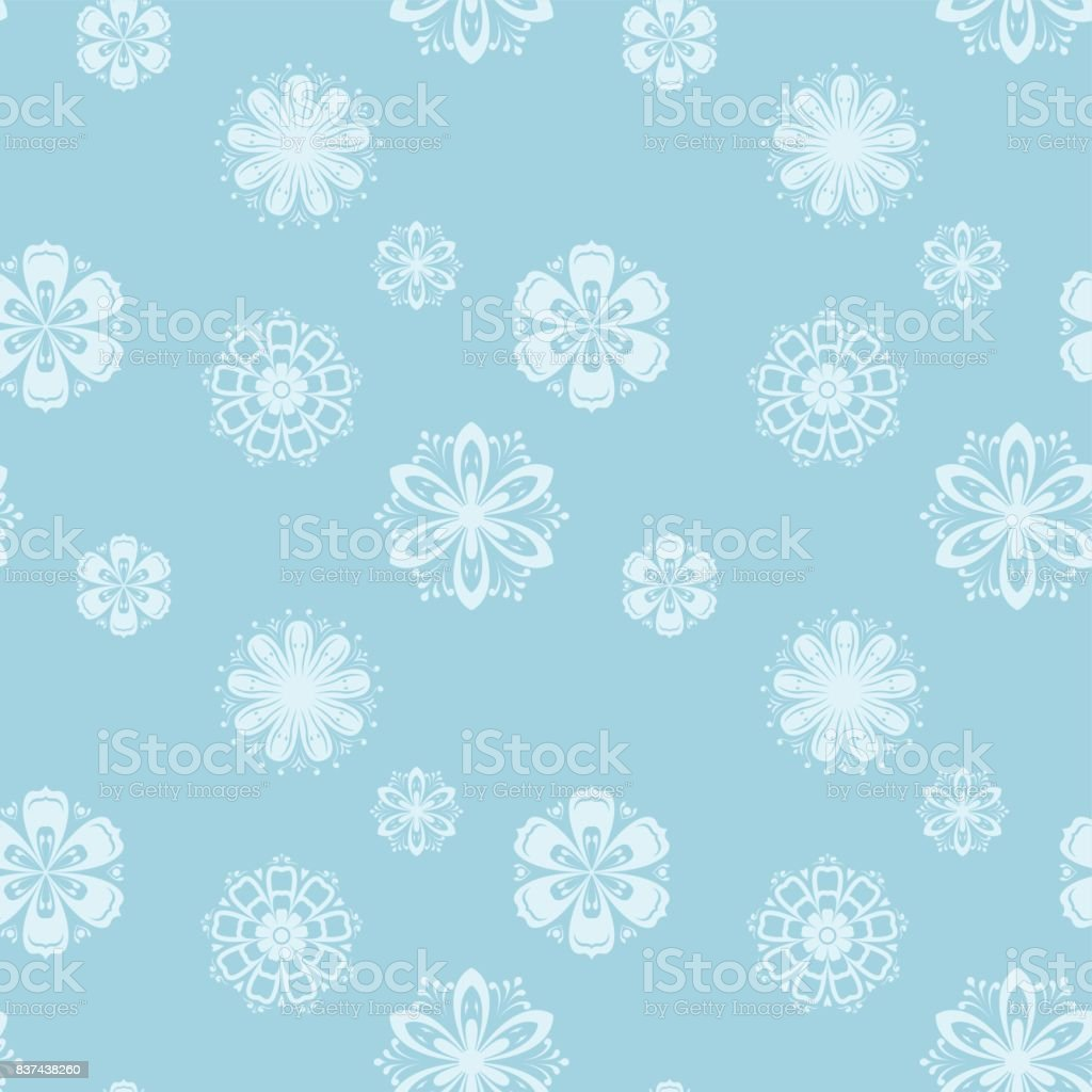 Floral seamless pattern. Blue and white background vector art illustration