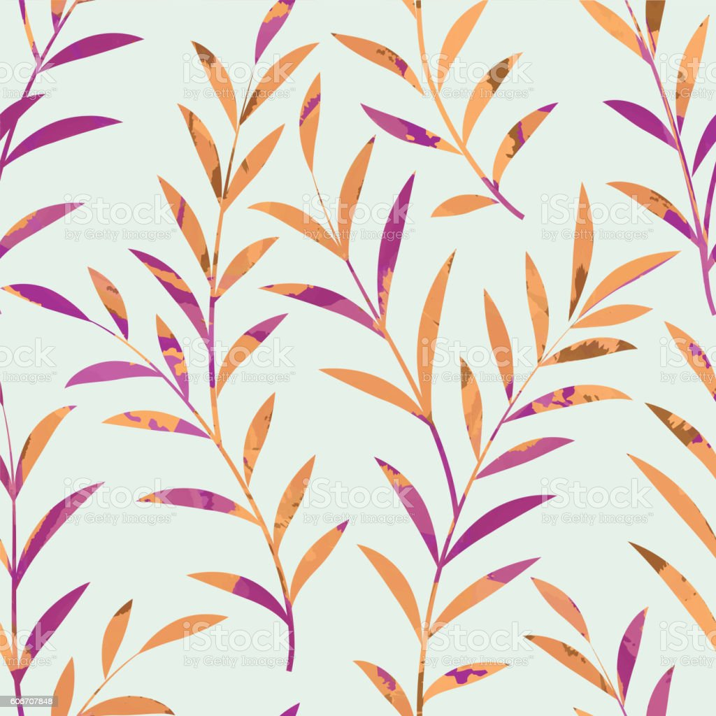 Floral seamless pattern. Branch with leaves background. nature ornament vector art illustration