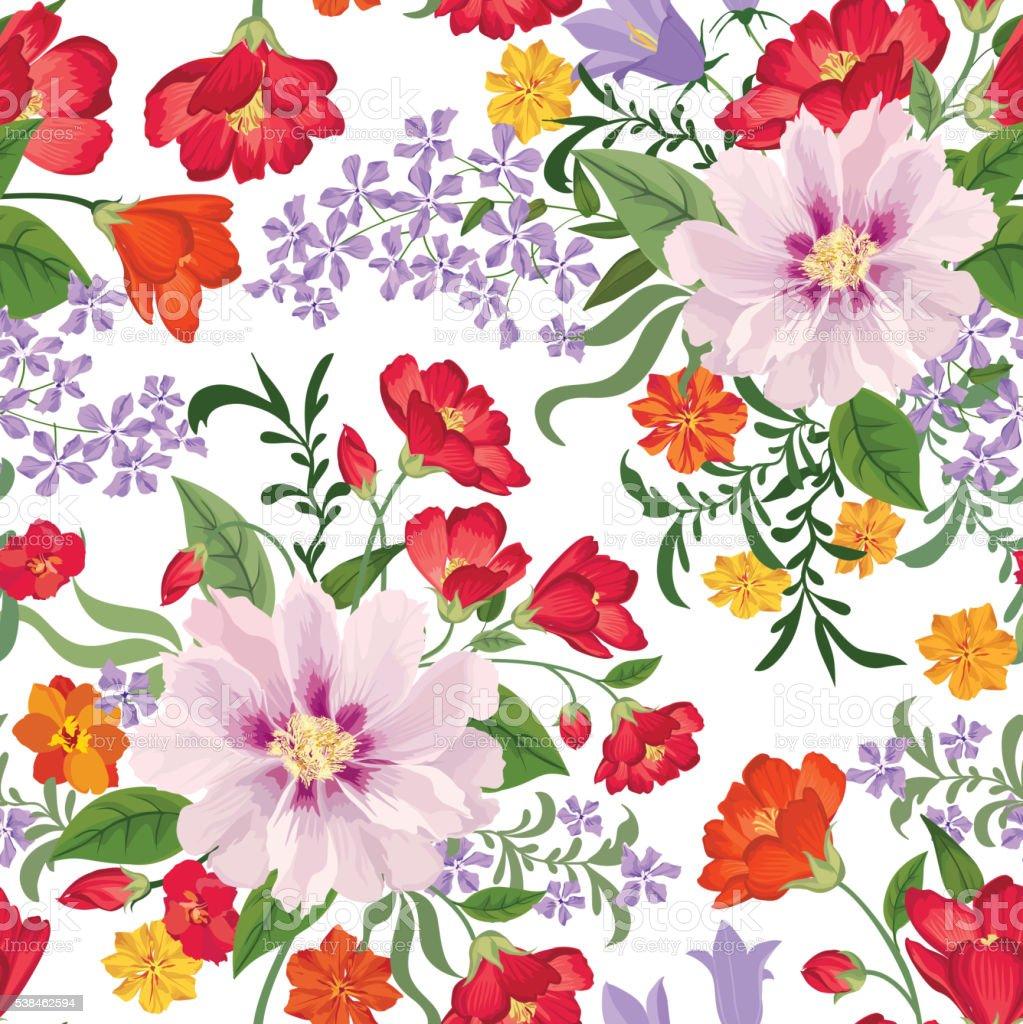 Floral seamless pattern Flower background vector art illustration