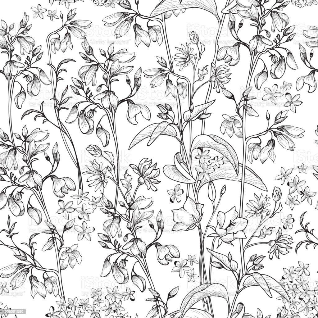 Floral seamless pattern. Flower engraved black and white background. vector art illustration