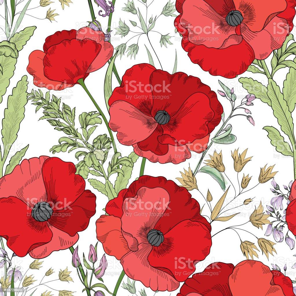 Floral seamless pattern. Flower poppy background. Flourish garden vector art illustration