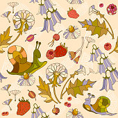 Floral seamless pattern, flowers, chamomile, campanula flowers