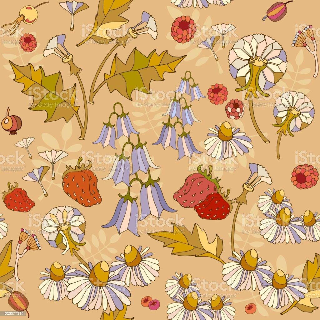 Floral seamless pattern, flowers,raspberries. Summer floral pattern vector art illustration