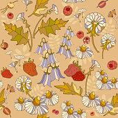 Floral seamless pattern, flowers,raspberries. Summer floral pattern