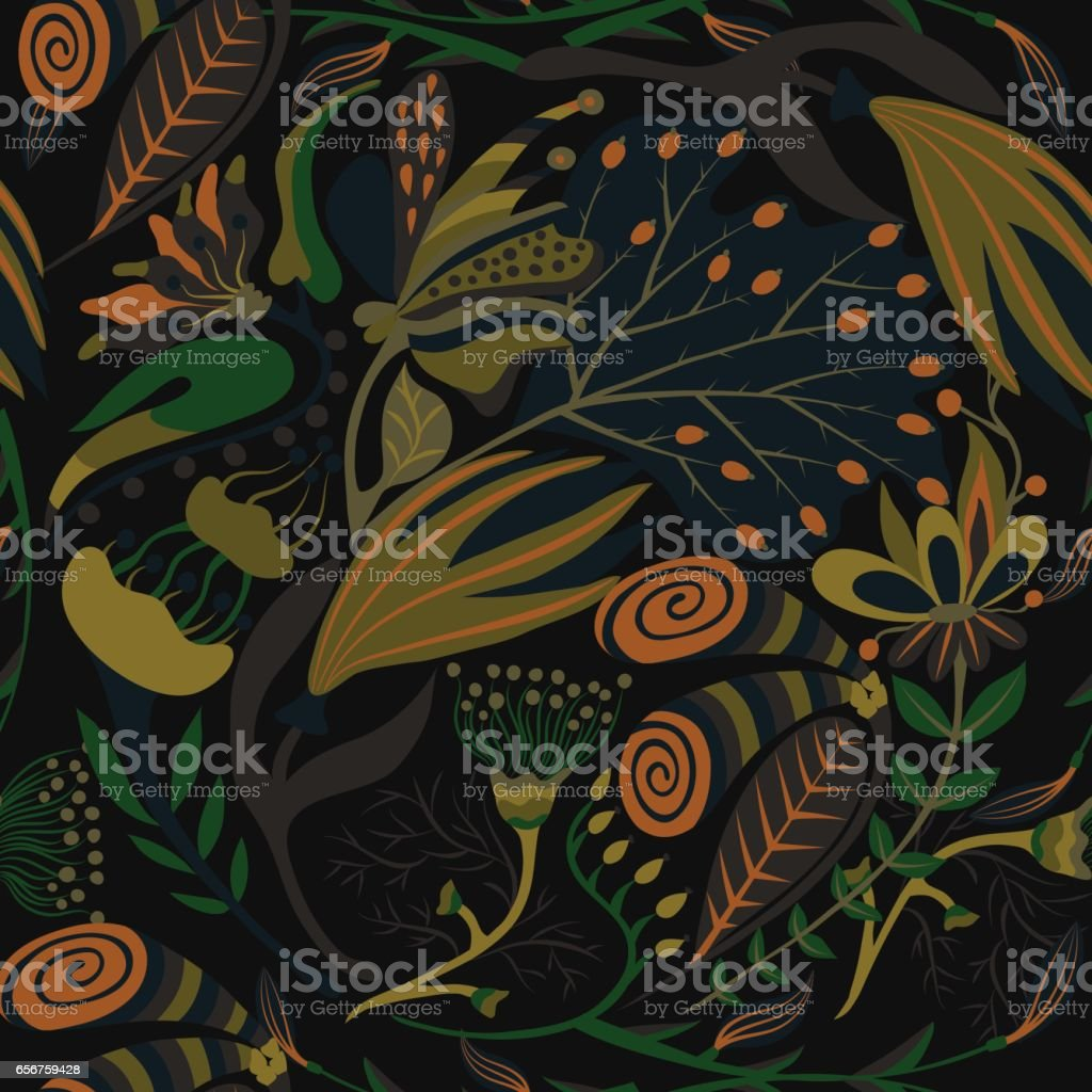 Floral seamless pattern. Hand drawn creative flowers. Colorful artistic background with blossom. Abstract herb vector art illustration