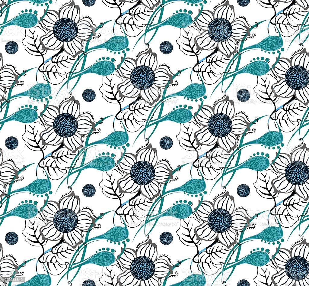 Floral seamless pattern. Hand drawn flowers vector art illustration