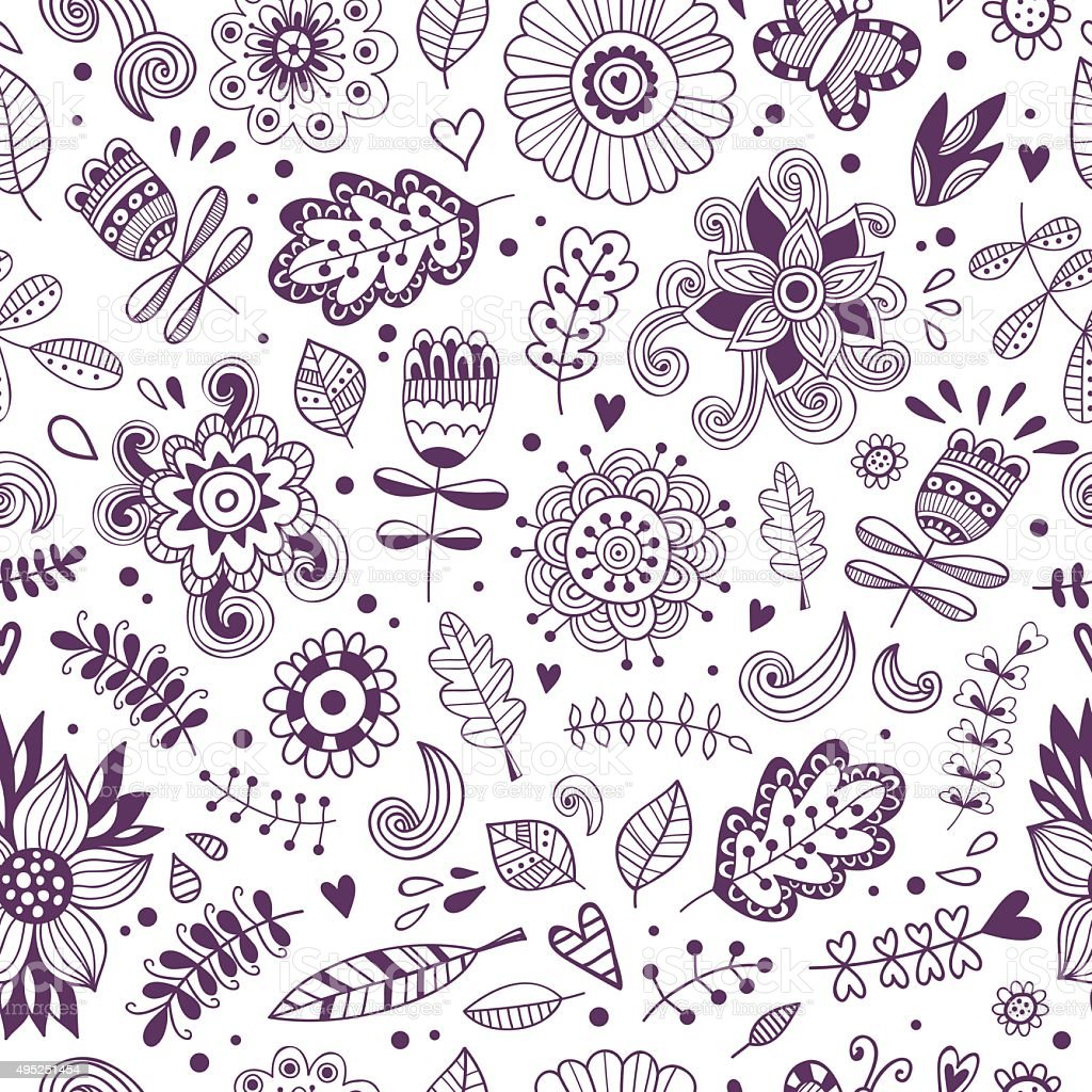 Floral seamless pattern. Hand drawn style outline with white background vector art illustration