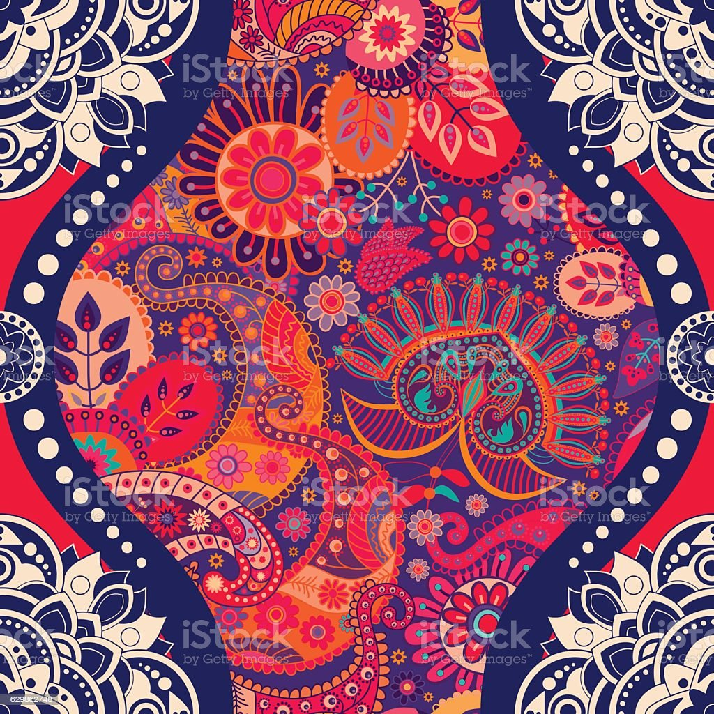 Floral seamless pattern in paisley style vector art illustration