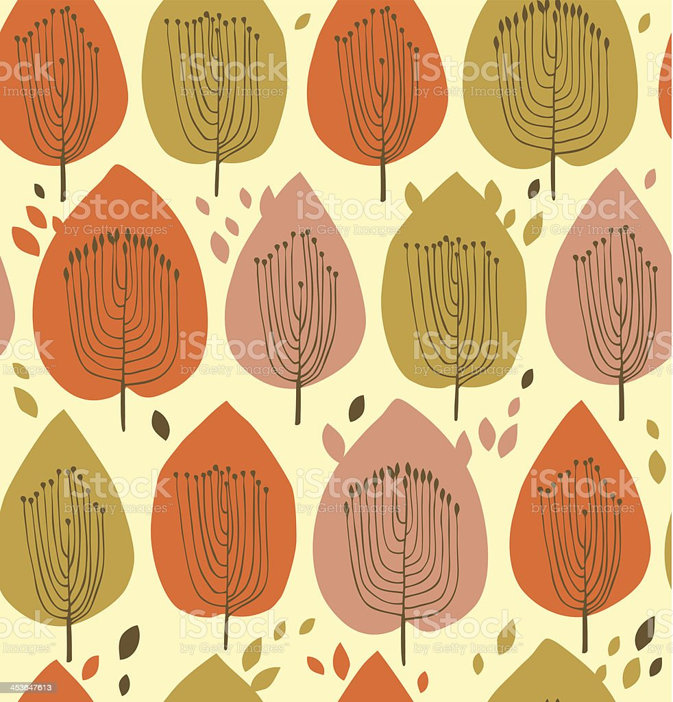 Floral seamless pattern in scandinavian style vector art illustration
