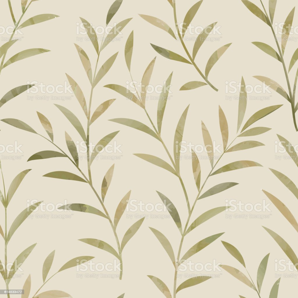 Floral seamless pattern. Leaves background. Nature plant branch ornament vector art illustration