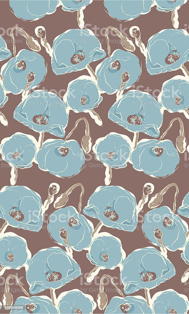 Floral Seamless Pattern of Poppies in Aqua and Brown royalty-free stock vector art