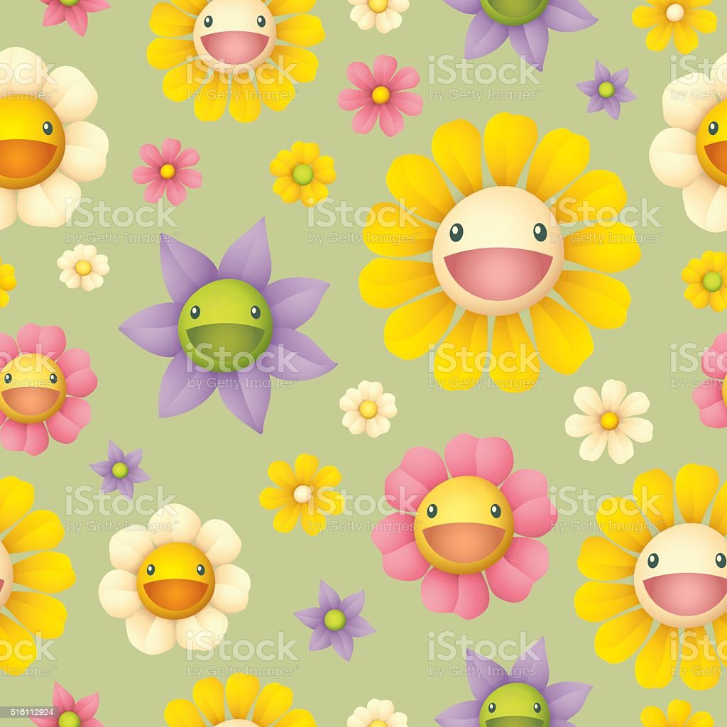 Floral seamless pattern - smiling face vector art illustration