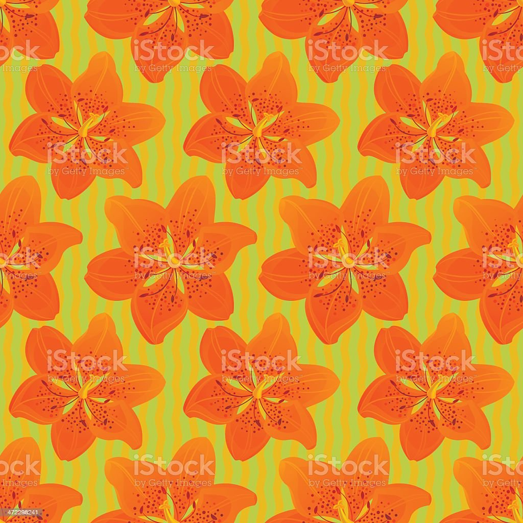 Floral Seamless Pattern (Orange Lily) royalty-free stock vector art