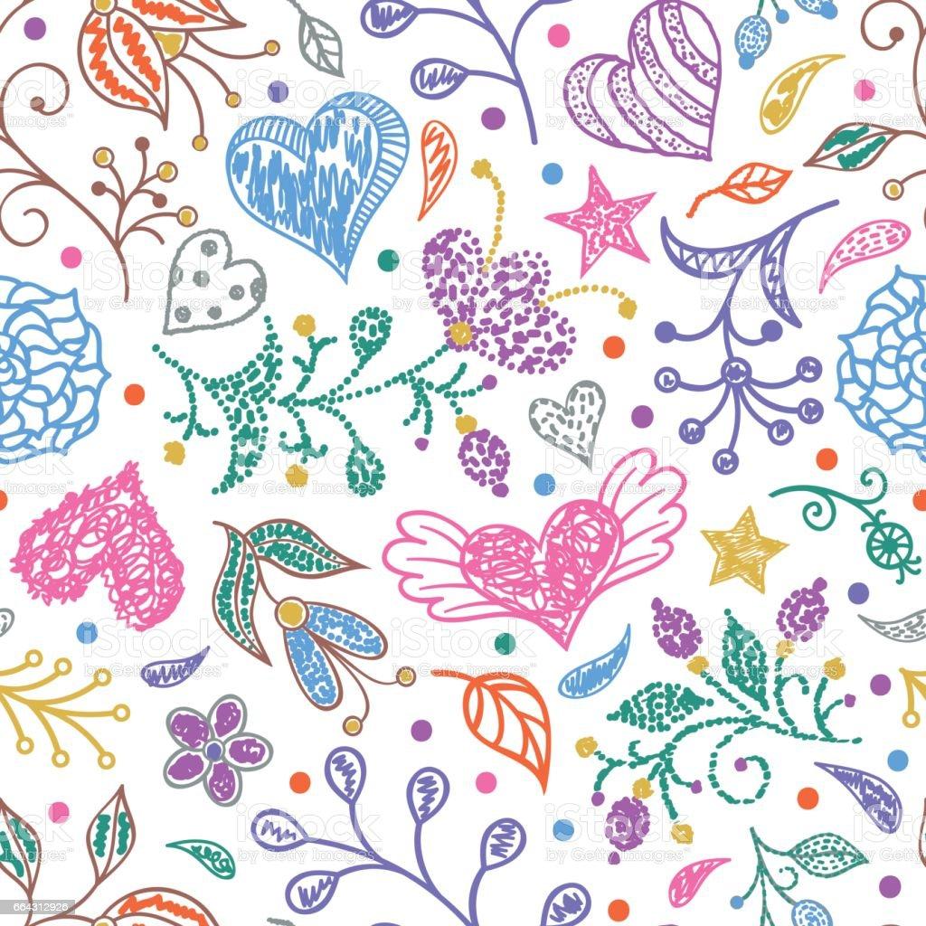 floral seamless pattern vector art illustration