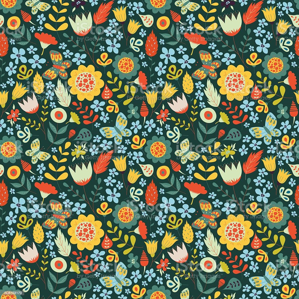 Floral seamless pattern with doodle flowers vector art illustration