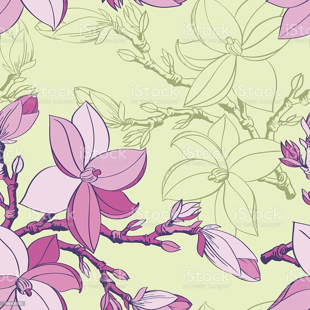 Floral seamless pattern com desenho de Flores de magnólias vetor e ilustração royalty-free royalty-free