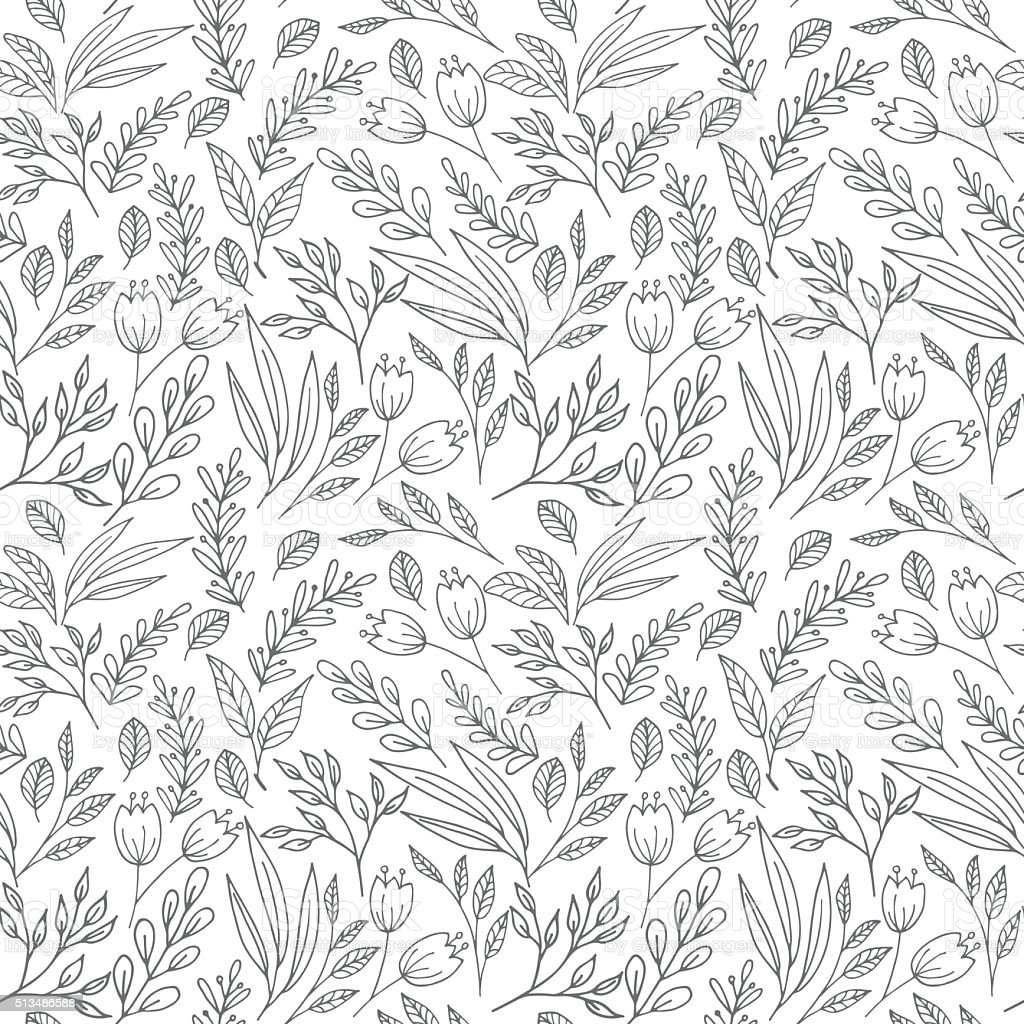 Floral seamless pattern with flowers and plants vector art illustration