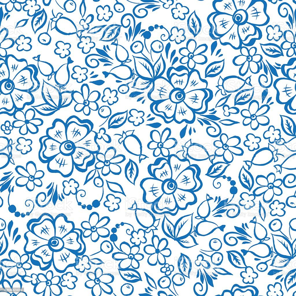 floral seamless pattern with flowers in russian folk style. vector art illustration