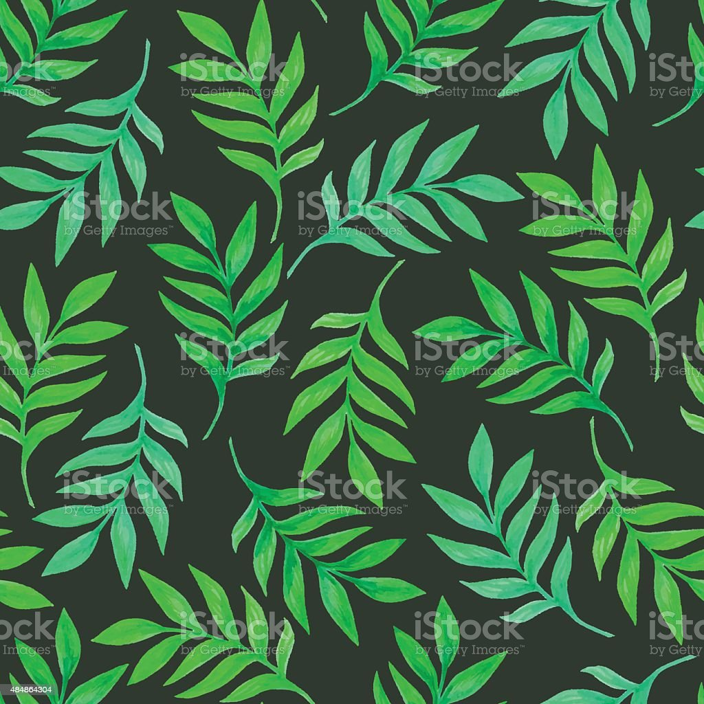 Floral seamless pattern with green leaves and branches vector art illustration