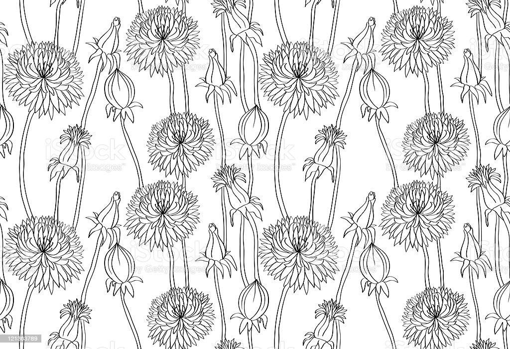 Floral seamless pattern with hand drawn dandelions royalty-free stock vector art