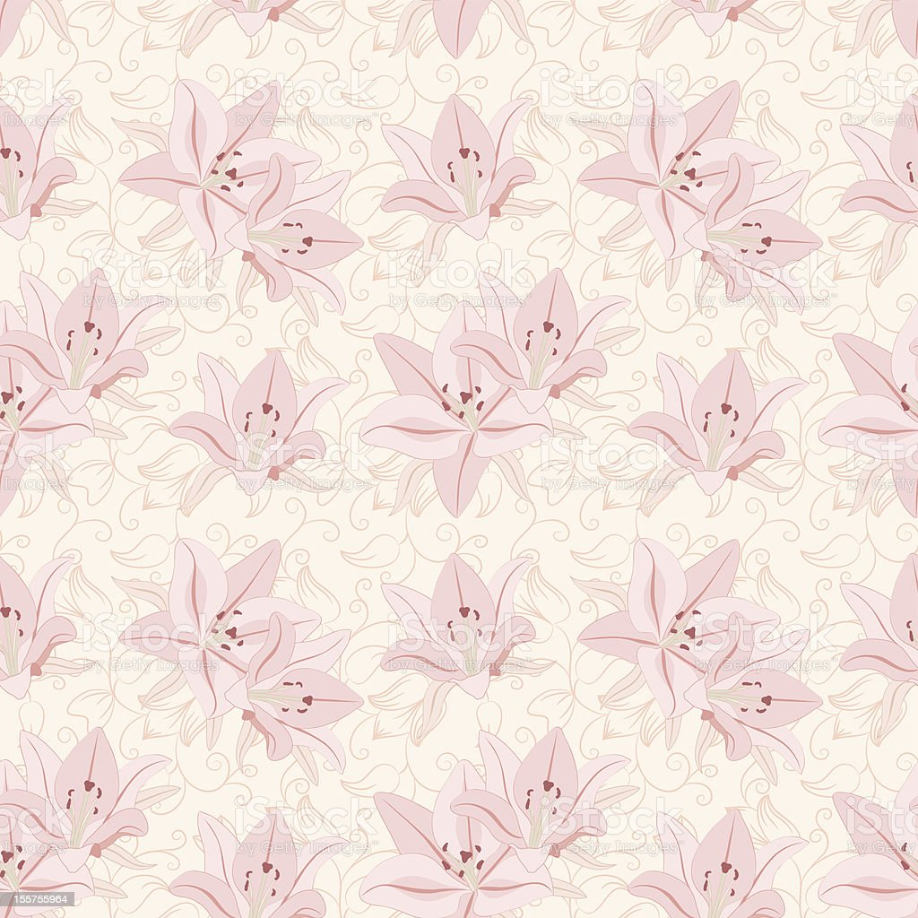 Floral seamless pattern with lily royalty-free stock vector art