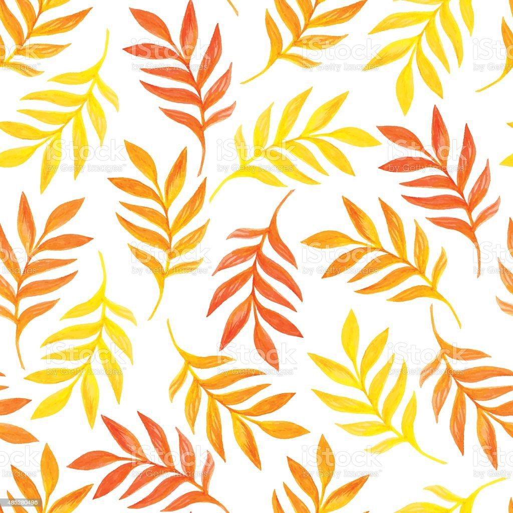 Floral seamless pattern with orange and yellow leaves vector art illustration