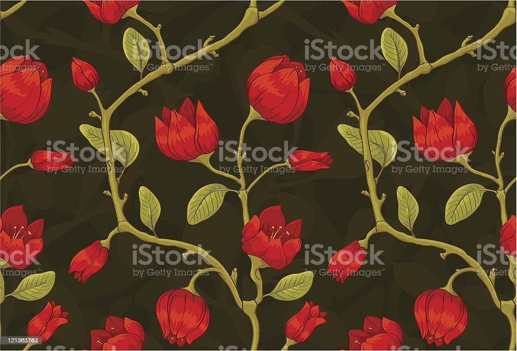 Floral seamless pattern with red tulip. royalty-free stock vector art