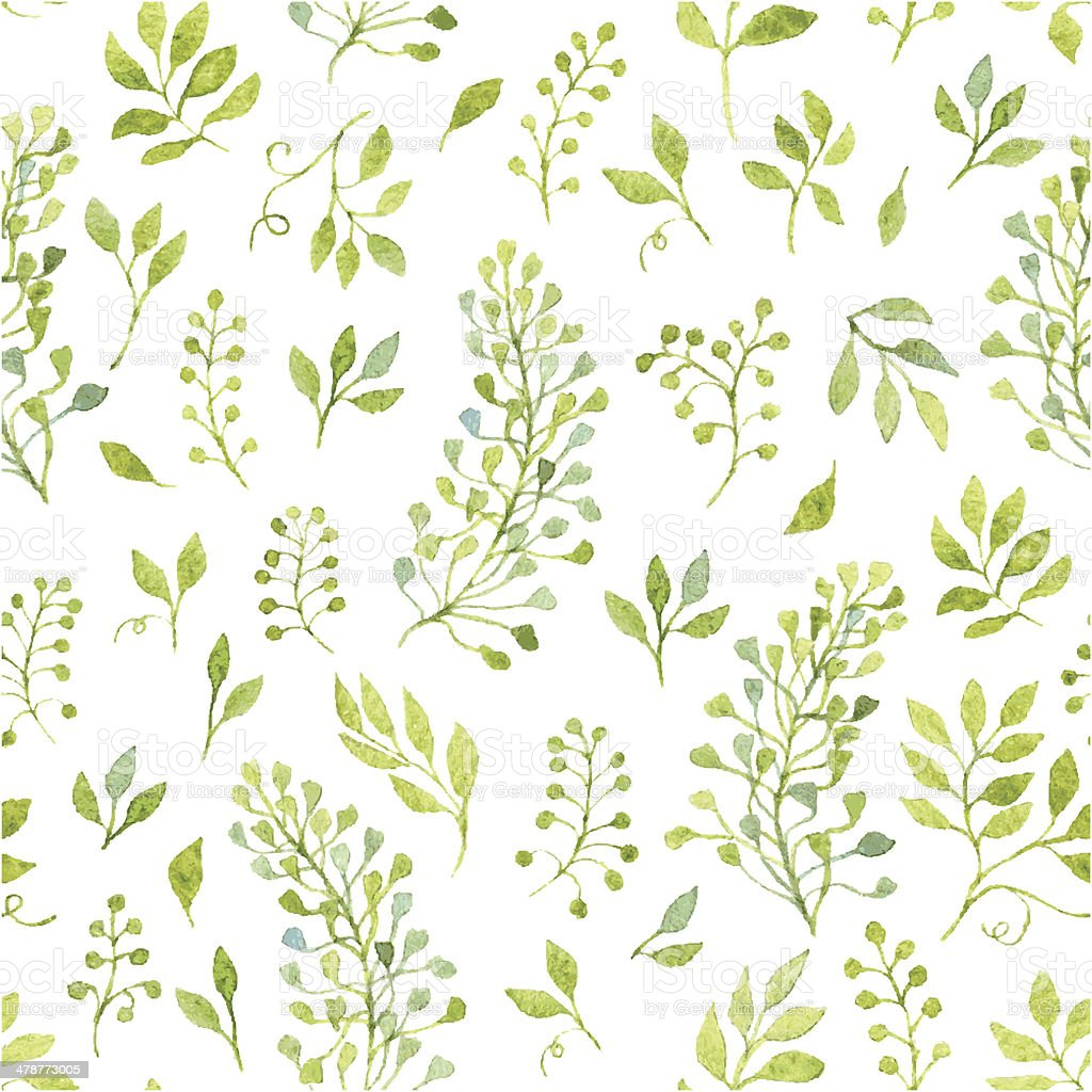 Floral seamless pattern with spring branches and leaves vector art illustration