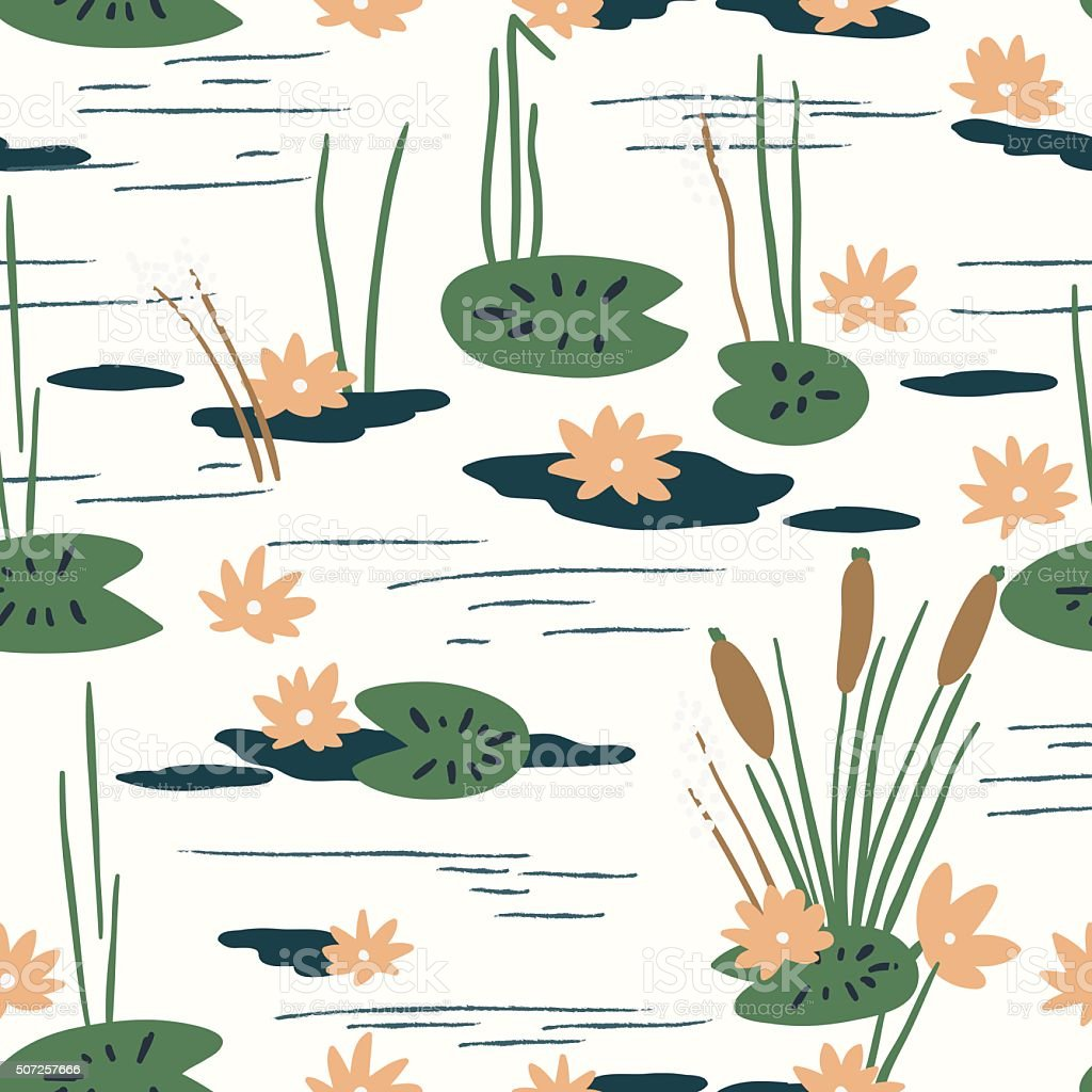 Floral seamless pattern with water lilies vector art illustration
