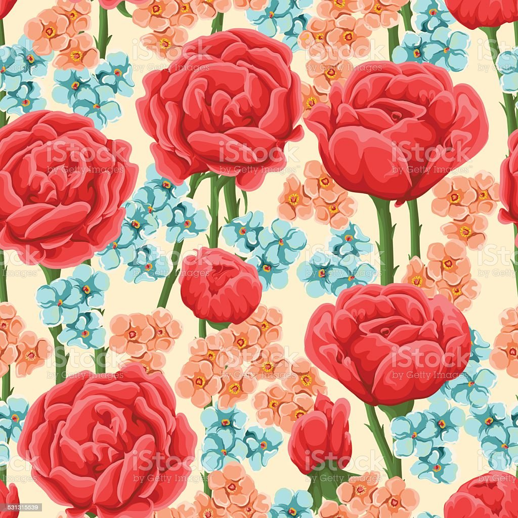 Floral seamless pattrn vector art illustration