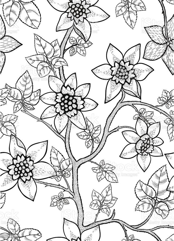 Floral seamless wallpaper. Hand drawn royalty-free stock vector art