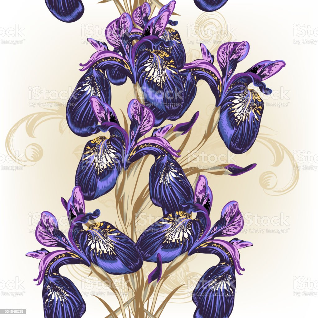 Floral seamless wallpaper pattern with purple flowers vector art illustration