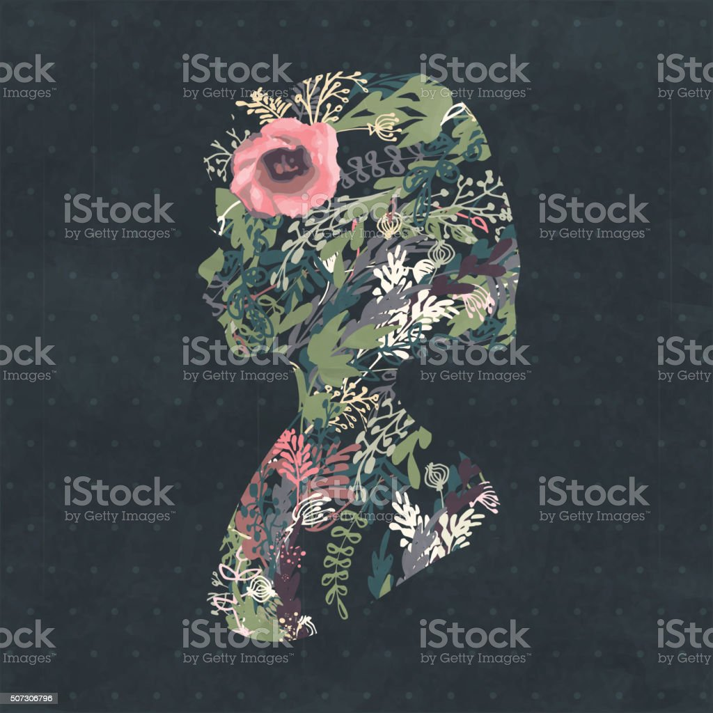 Floral silhouette portrait of a beautiful girl in profile vector art illustration