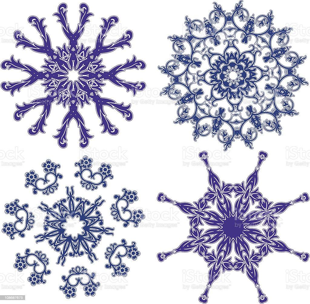 Floral snowflakes, set, element for design vector art illustration