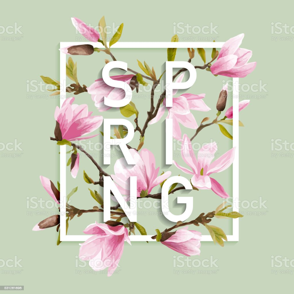 Floral Spring Graphic Design with Magnolia Flowers for t-shirt vector art illustration
