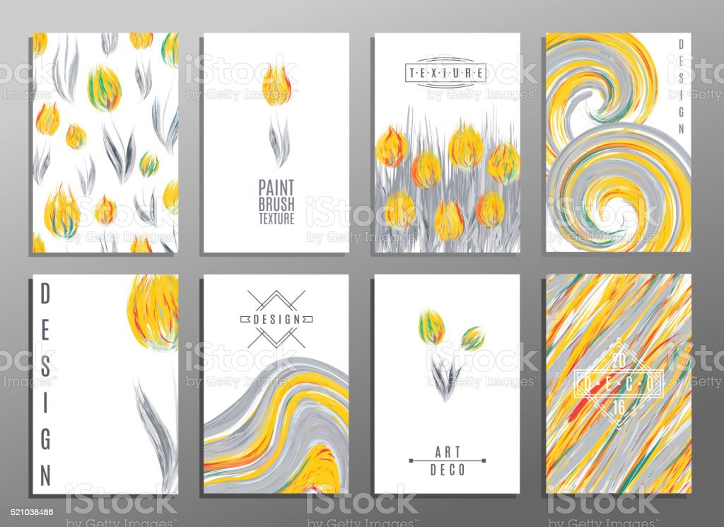 Floral spring templates with cute flowers tulips. For romantic design, vector art illustration
