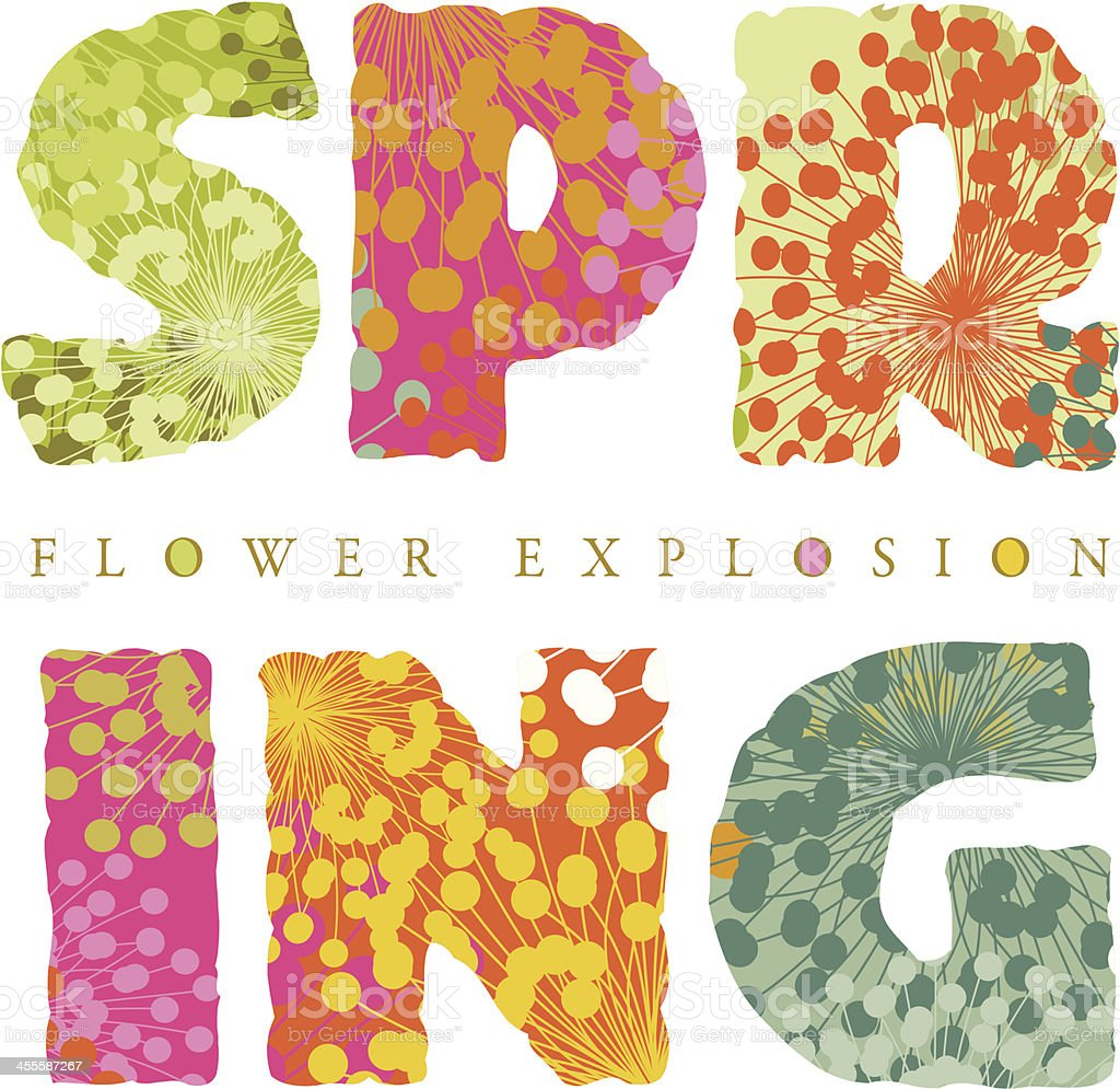 Floral spring text vector art illustration
